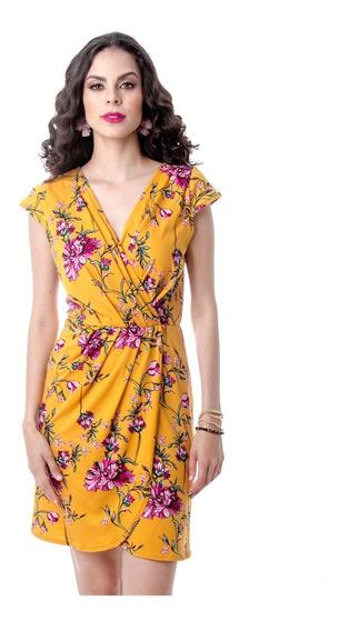 Vestido Corto Amarillo Estampado Floral Plizado Frontal