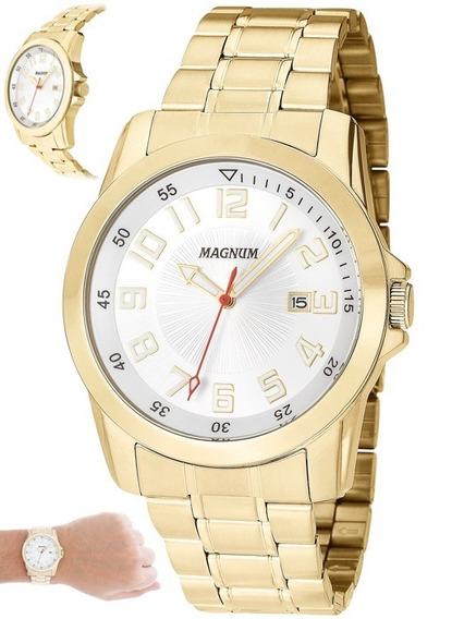 Relógio Magnum Masculino Dourado Luxo Original Ma32792h
