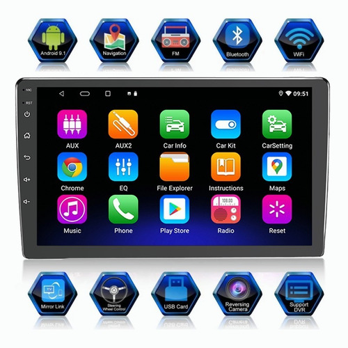 Imagen 1 de 9 de Estéreo Para Auto Con Wifi Gps Android 9.1 Y Vidrio Templado