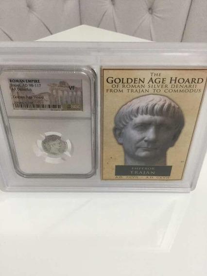 Moeda Denário Prata - Império Romano - Imperador Trajan Ngc