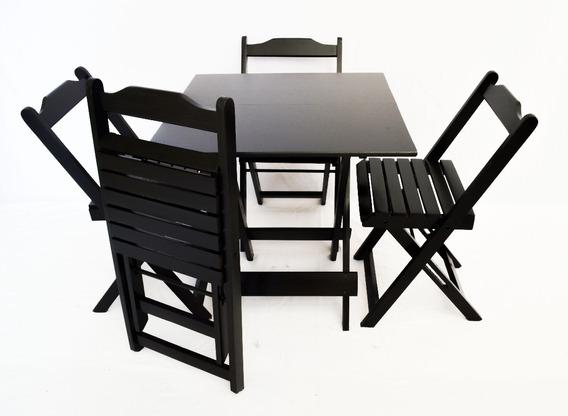 Jogos De Mesa De Bar 70x70 + 4 Cadeiras Dobrável Em Madeira