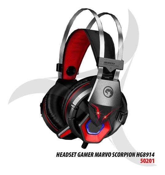Headset Gamer Marvo Scorpion Hg8914 Preto/vermelho