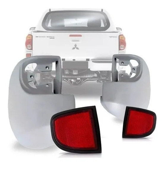 Polaina + Refletor Traseiro L200 Triton 2007 A 2016 Plástico
