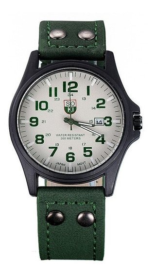 Relógio Masculino Soki Analogico Pulseira Couro