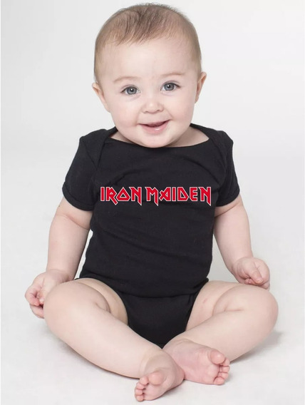 Body Bebe Preto Banda Rock Iron Maiden Roupas Menina Menino