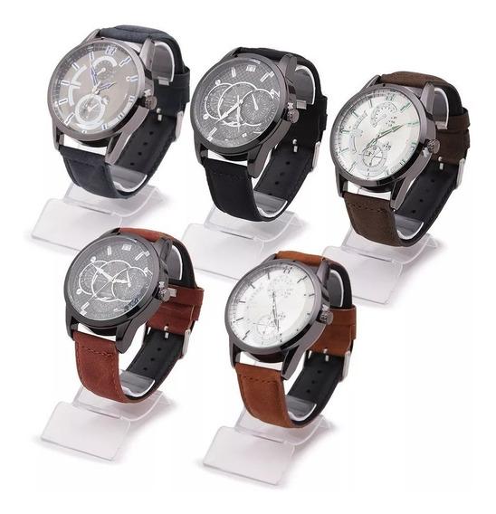 Relógios Masculino Kit C/5 Pulseira Couro + Caixa E Bateria