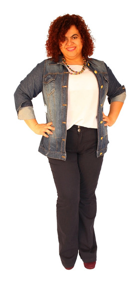 Jaqueta Jeans Destroyed Maxy Plus Size Courtney 46 Ao 54