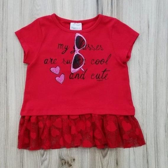 Blusa Vermelha Com Tule Momi F7764