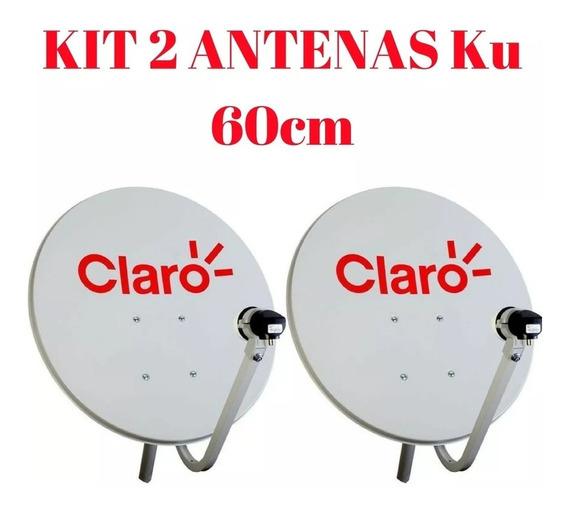 Kit 2 Antenas Claro Tv Hd 60cm + 34m Cabos + 2 Lnb Simples