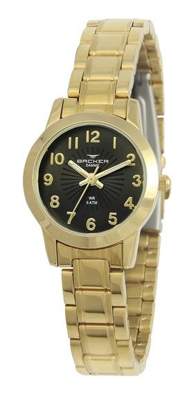 Relógio Feminino Backer Analógico 10260145f - Dourado