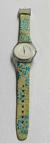 Reloj Swatch Skin 1999 Piel Bordada En Turquesa Excelente