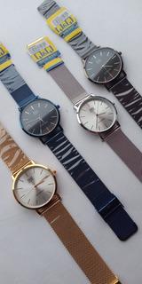Reloj De Hombre Qyq Elegante Original Q&q Acero Pulso Malla