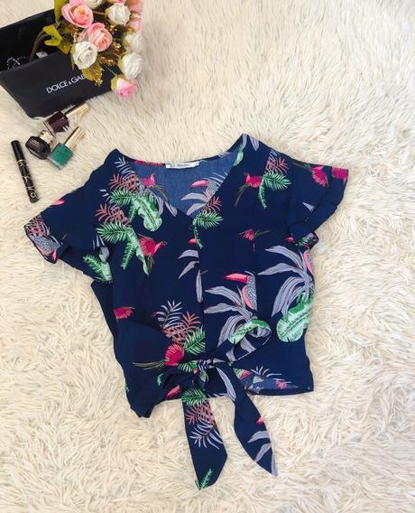 Blusa Cropped Feminino V Alça Estampada Floral Amarrada Vera
