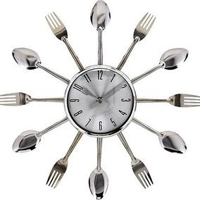 Relógio De Parede Cozinha Talheres Prata Dourado