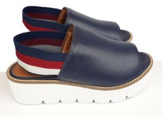 Sandalia Flatform Leve Conforto Branco Marinho Premium