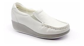 Sapato Anabela Usaflex Branco Couro 5743 Pl | Tucca Calçados