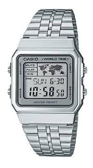 Relógio Masculino Casio Mundi A500 Prateado Vintage Digital