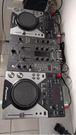 Par De Cdj Pioneer 400 + Mixer Djm 400 Pioneer