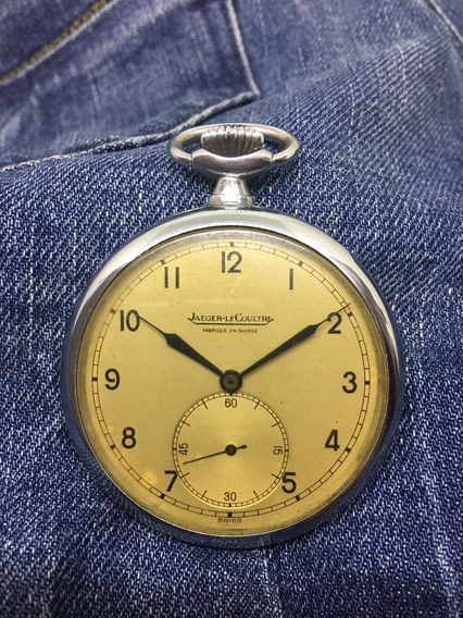 Relógio Nível Do Omega Jaeger Lecoutre De 1934 Mostrador Champagne Ponteiros Azuis Caixa Em Níquel - 13 Anos No M. Livre