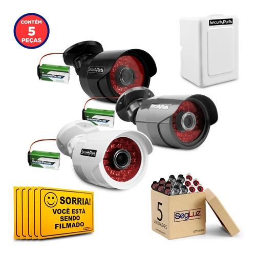 Kit 5 Câmeras Bullet Falsa C/ Bateria E Caixa