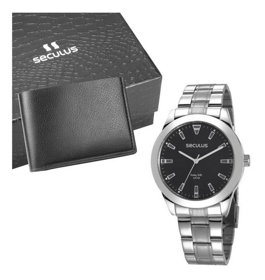 Relógio Prata Original Seculus + Carteira Em Couro Gratis