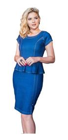 Roupas Femininas Vestido Médio Jeans Moda Evangélia 053
