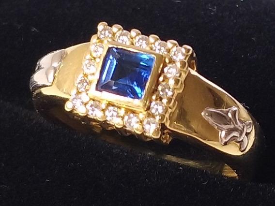 Anel De Formatura Safira Azul E Brilhantes Ouro 18k Aro 16,5