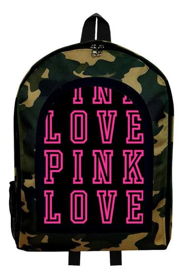 Mochila Reforzada Camuflada Love Pink 7 Givan