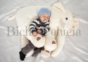 Almofada Travesseiro Elefante Pelúcia Off White 80cm
