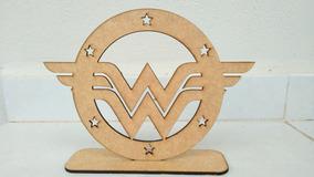 Centro De Mesa Emblema Mulher Maravilha Em Mdf 10 Unidades