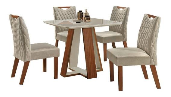 Conjunto Mesa De Jantar Luxo-quatro Cadeiras, Tampo De Vidro