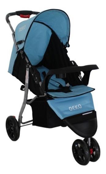 Carrinho De Bebe 3 Rodas Reclinável Azul Com Preto Star Deko
