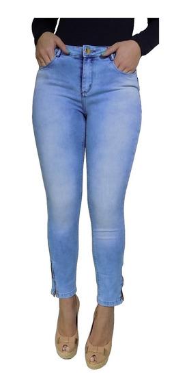 Calça Jeans Feminina Blue Denim Lavagem Lycra Cintura Alta