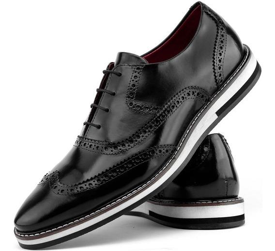Sapato Masculino Social Casual Oxford 100%couro Confort Leve