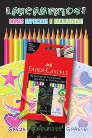 Ecolápis 18 Cores: 12 Cores E 6 Neon, Faber-castell Grafite