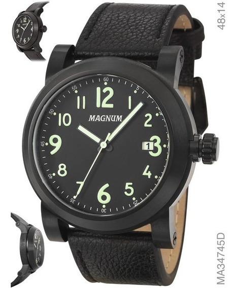 Relógio Masculino Magnum Ma34745d Em Couro Preto