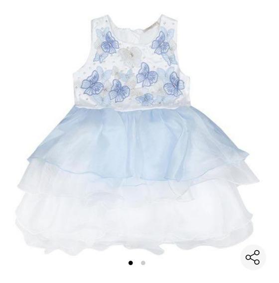 Vestido Borboleta S Azul Claro E Off White Petit Cherie