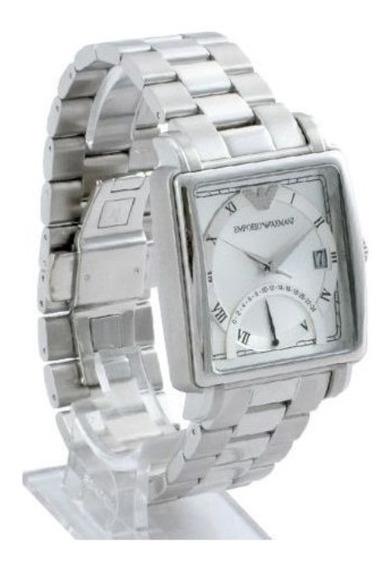 Relógio Masculino Emporio Armani Original Prateado C Branco