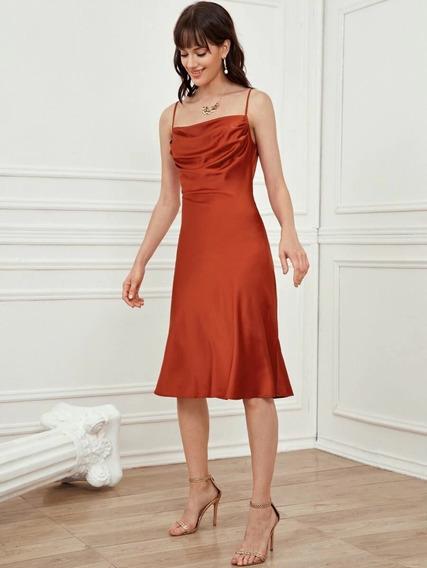 Vestido Satinado Saten Seda Satin Tirantes Mujer Midi