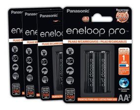 4 Cartelas De Pilhas Recar. Eneloop Pro Pequena Aa Ct C/02