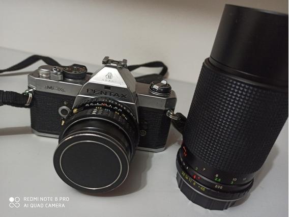 Câmera Pentax Mx + Lente Objetiva Vivitar P/k 80-200mm