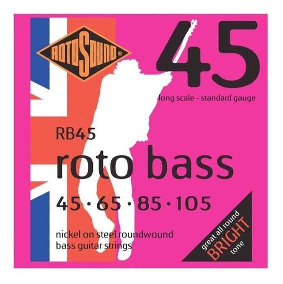 Encordado Para Bajo Electrico Rotosound England Rb45 - 4 Cuerdas - Calibres 045 105 - Acero Niquelado - Escala Larga