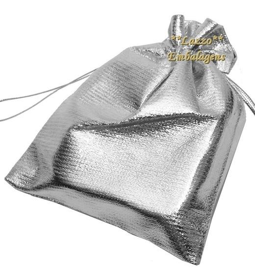 100 Saquinhos Para Bijouteria Saquinho Lame Prateado 9x12 Cm