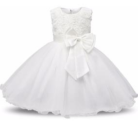 Vestido Infantil Branco Batizado Daminha Casamento Oferta