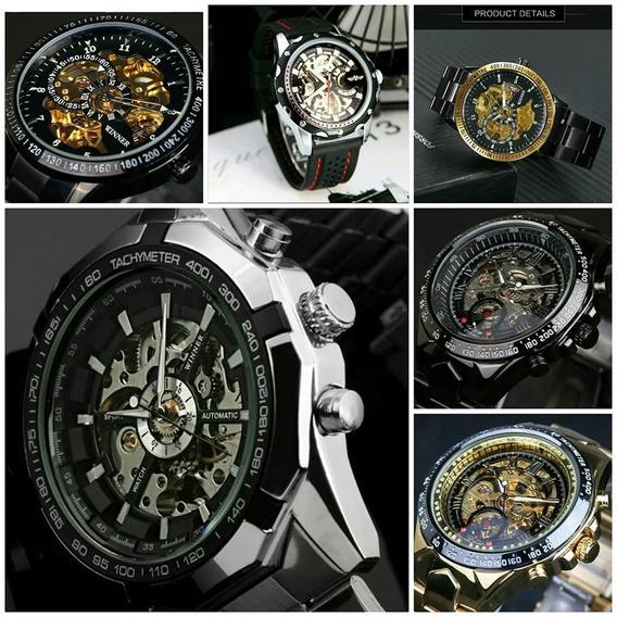 Relógio Winner Skeleto Preto Dourado Automático Promoção