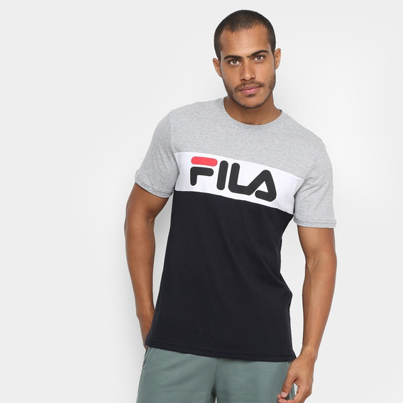 Remera Fila Letter Colors Grs/ Ngr Envios Caba Y Bs As