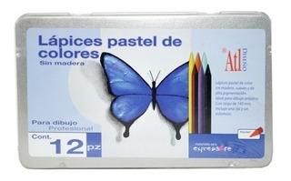 Lápices Colores Pastel Sin Madera 12 Piezas Atl Diseño Arte
