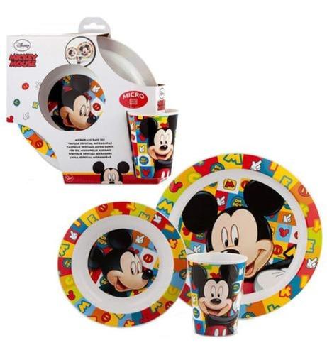 Conjunto Alimentação Pratinhos E Copo Mickey Disney - Lillo