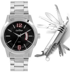Relógio Condor Masculino Prata Clássico Casual + Canivete