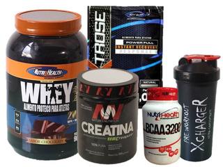 Kit Nutrihealth Whey Health 900g + Crea + Dextrose + Shaker